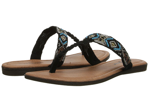 Minnetonka - Roatan (Black Suede/Turqoise Metallic Beads) Women