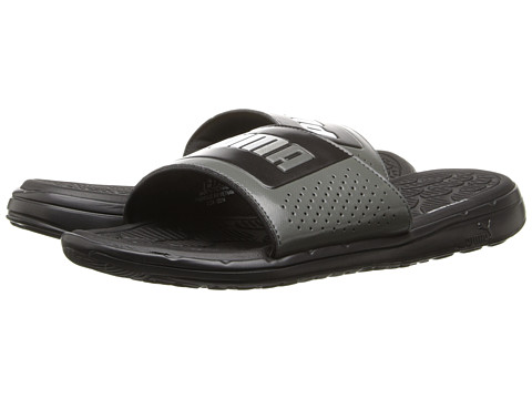 PUMA - Foamcat Slide Basic (Black/White/Dark Shadow) Men's Slide Shoes