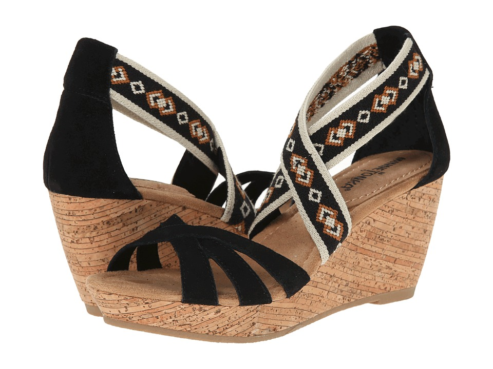 Minnetonka - Drew (Black Suede) Women's Wedge Shoes