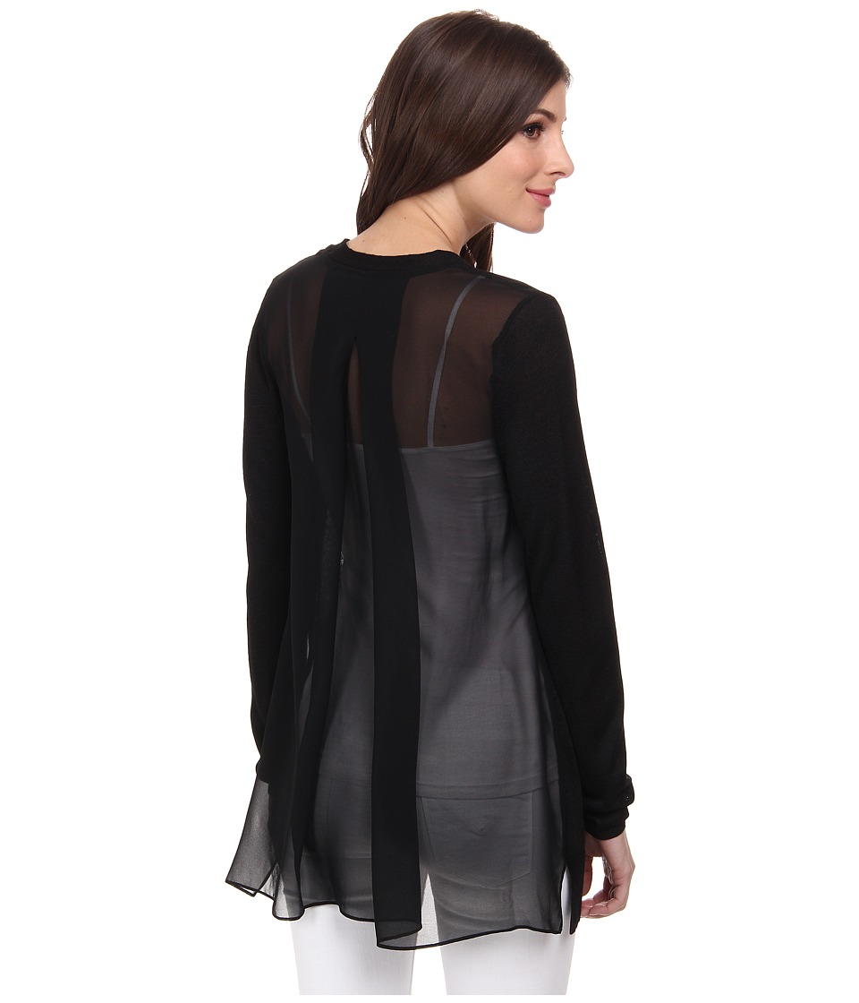 NIC+ZOE - Chiffon Back Cardy (Black) Women's Sweater