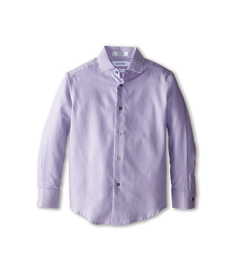 Calvin Klein Kids - Rope Stripe Dress Shirt (Big Kids) (Dark Purple) Boy's Long Sleeve Button Up