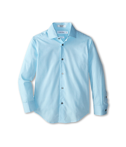 Calvin Klein Kids - End On End L/S Woven Shirt (Big Kids) (Medium Teal) Boy