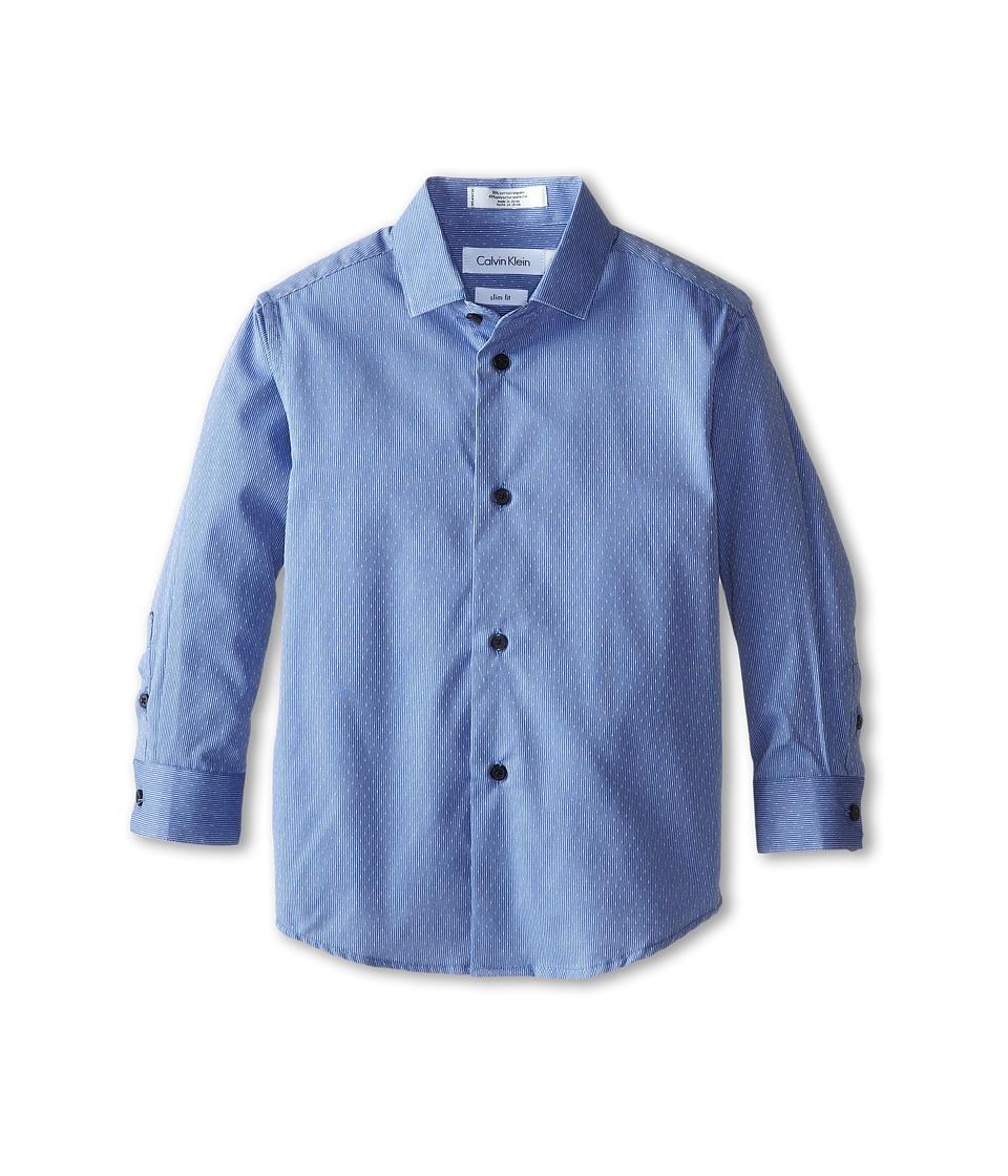 Calvin Klein Kids - Slub Dobby Stripe L/S Shirt (Little Kids) (Dark Blue) Boy's Long Sleeve Button Up
