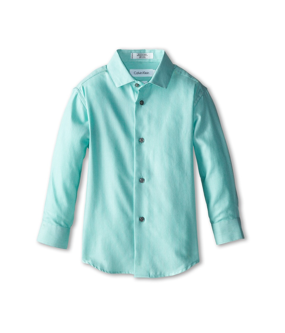 Calvin Klein Kids - Rope Stripe L/S Dress Shirt (Little Kids) (Bright Green) Boy's Long Sleeve Button Up