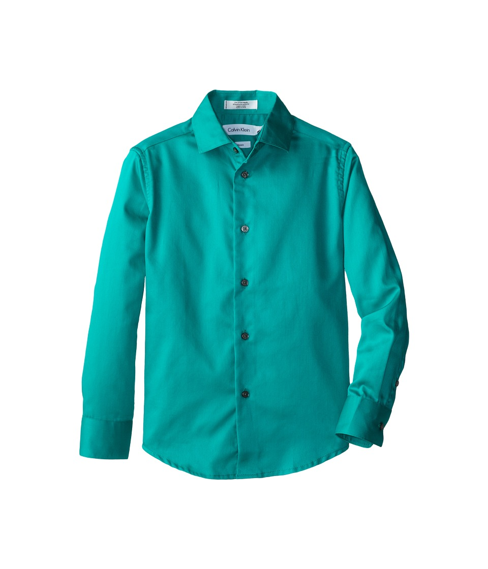Calvin Klein Kids - Sateen Shirt (Big Kids) (Bright Aqua) Boy's Long Sleeve Button Up