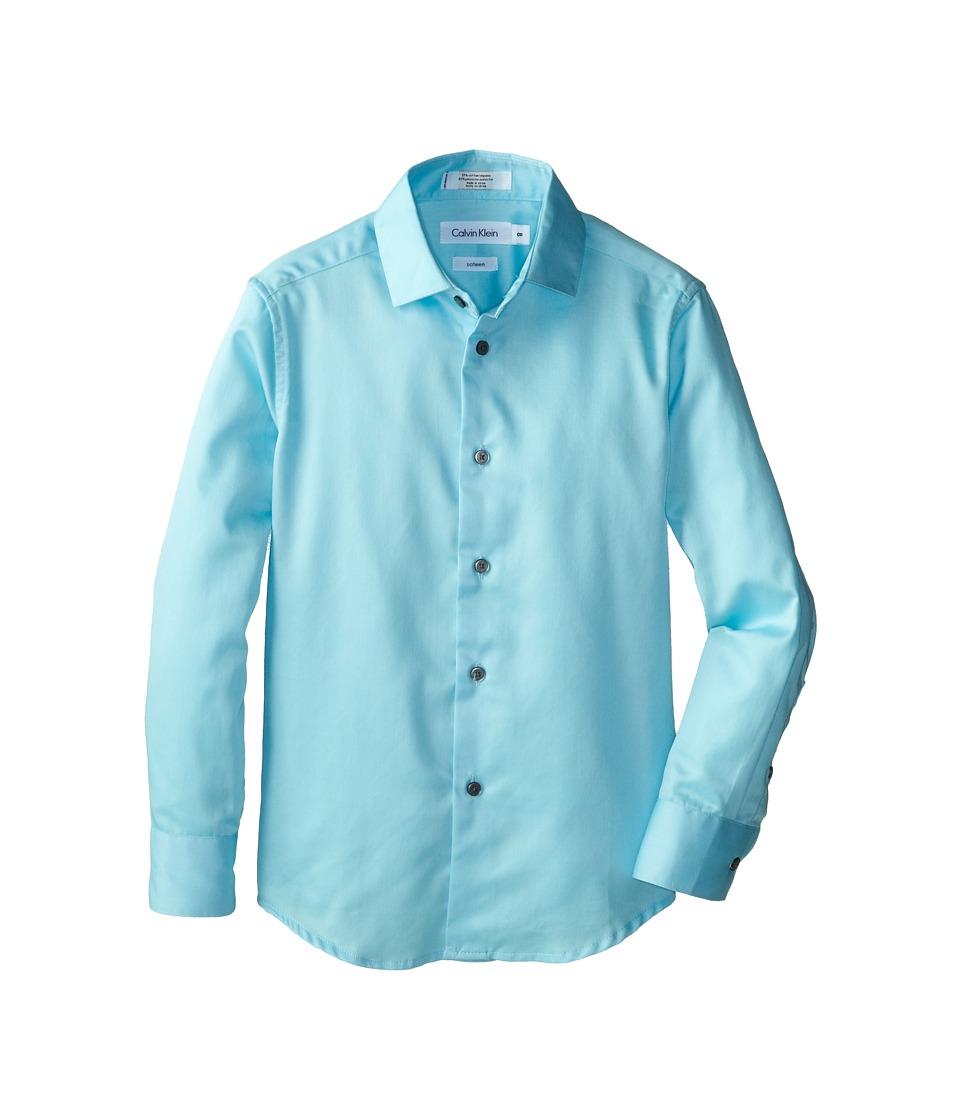 Calvin Klein Kids Sateen Shirt Big Kids Light Teal Boys Long Sleeve Button Up