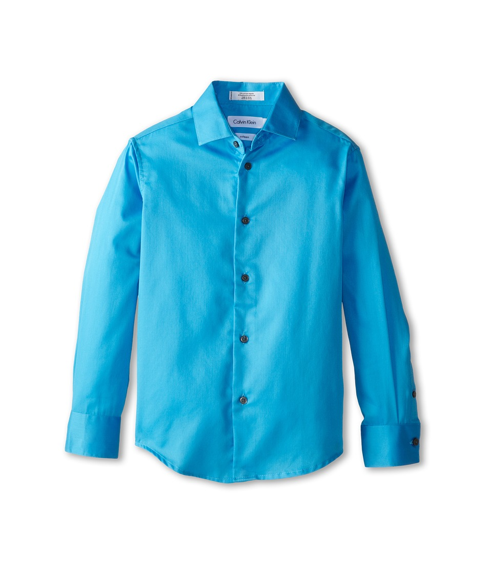 Calvin Klein Kids - Sateen Shirt (Big Kids) (Bright Blue) Boy's Long Sleeve Button Up