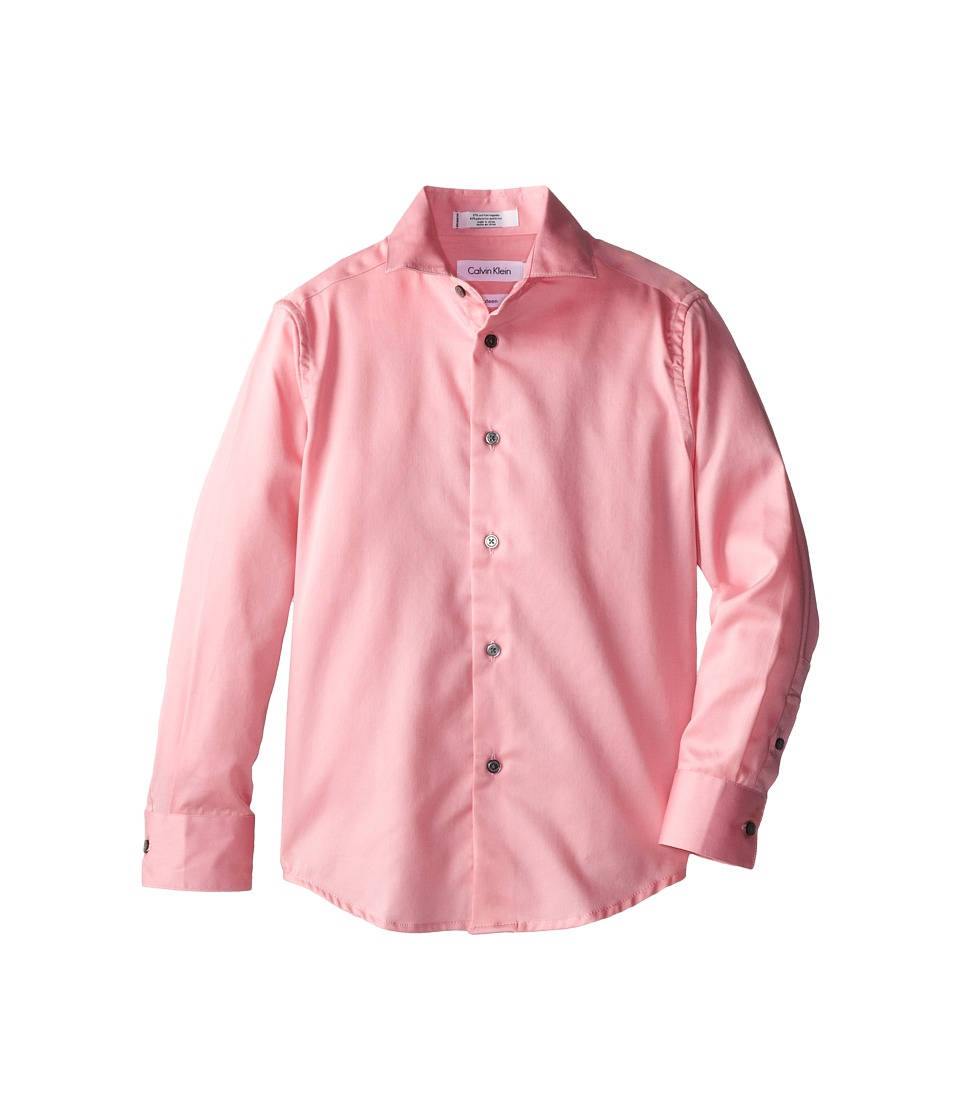 Calvin Klein Kids - Sateen Shirt (Big Kids) (Medium Pink) Boy's Long Sleeve Button Up