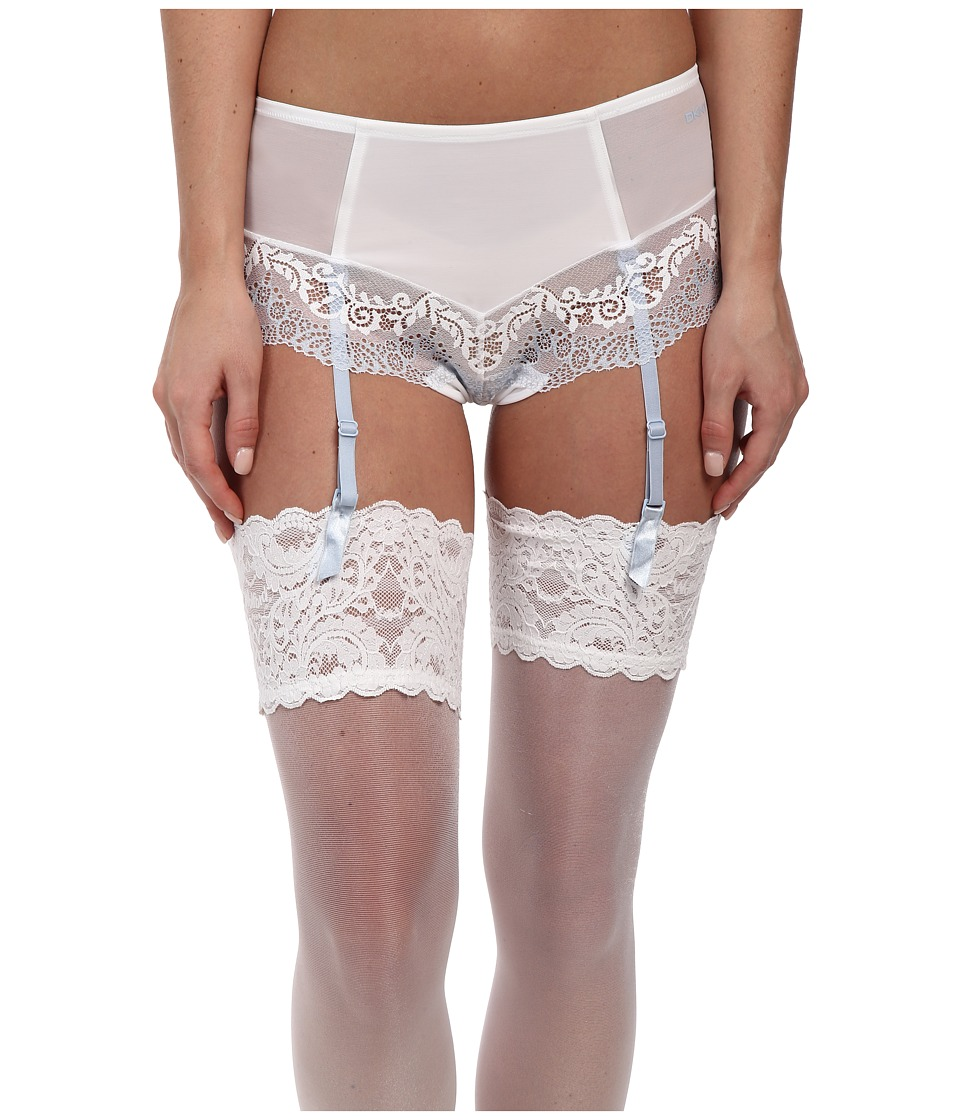 DKNY Intimates - Seductive Lights Brief w/ Garters (White/Oxford Blue) Women's Underwear