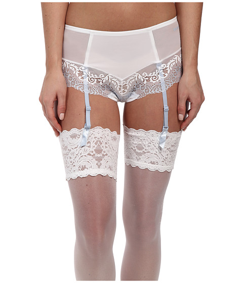 DKNY Intimates - Seductive Lights Brief w/ Garters (White/Oxford Blue) Women