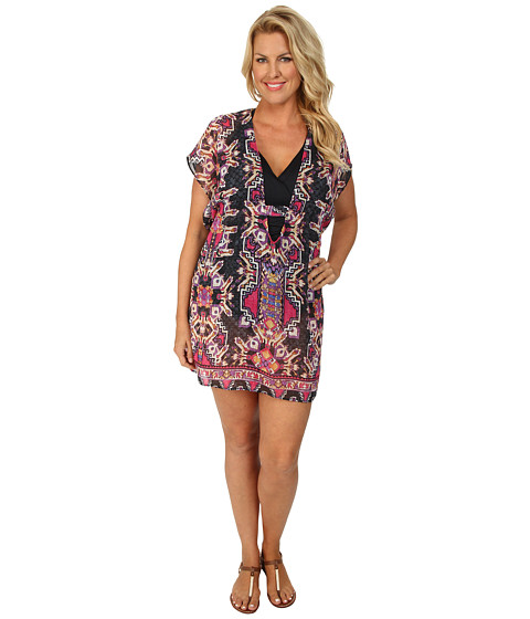 BECCA by Rebecca Virtue - Plus Size Becca ETC Cozumel Chiffon Tunic Cover-Up (Multi) Women's Swimwear