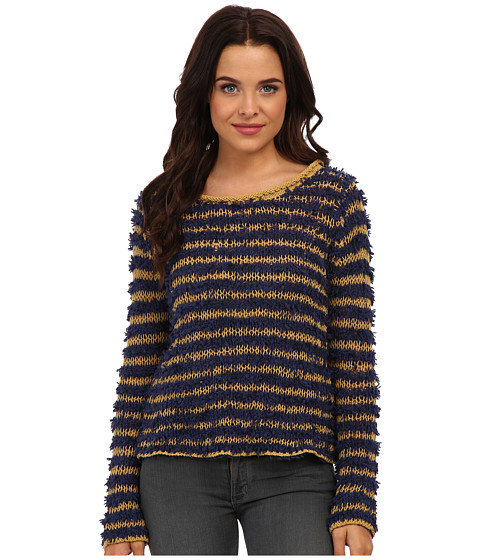 Free People - Downy Stripe Pullover (Navy Combo) Women's Sweater