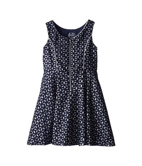 Pippa & Julie - Glitter Lace Zip Front Dress (Little Kids/Big Kids) (Navy/Sliver) Girl