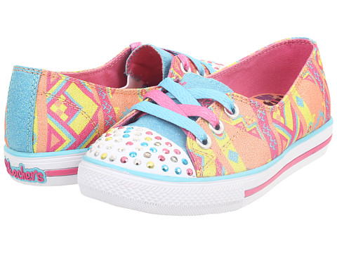 SKECHERS KIDS - Chit Chat Lights 10470L (Little Kid/Big Kid) (Coral/Multi) Girls Shoes