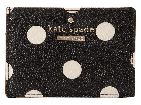 Kate Spade New York - Cedar Street Dot Card Holder (Black/Deco Beige) Credit card Wallet
