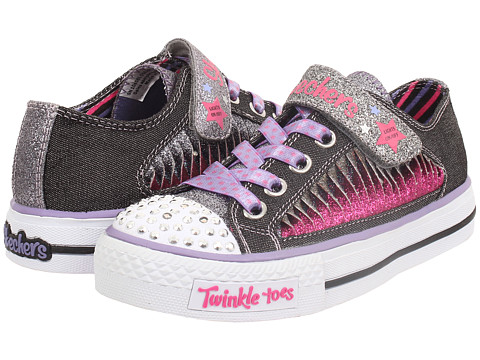 SKECHERS KIDS - Shuffles - Playground Glam Lights 10458L (Little Kid/Big Kid) (Black/Lavender) Girls Shoes