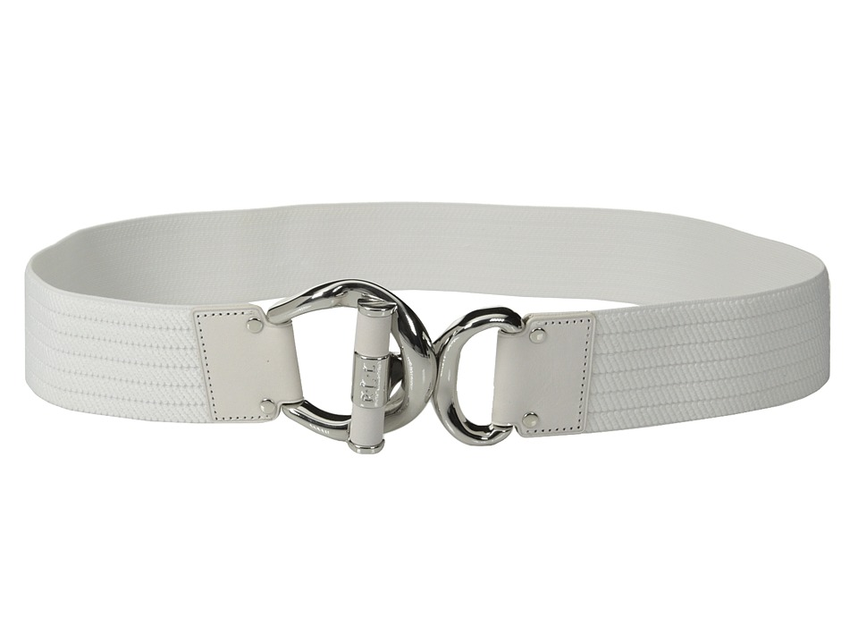 LAUREN by Ralph Lauren - Woodbridge 1 3/4 Ribbed Stretch Belt w/ Leather Wrapped Toggle Interlock (White/White) Women