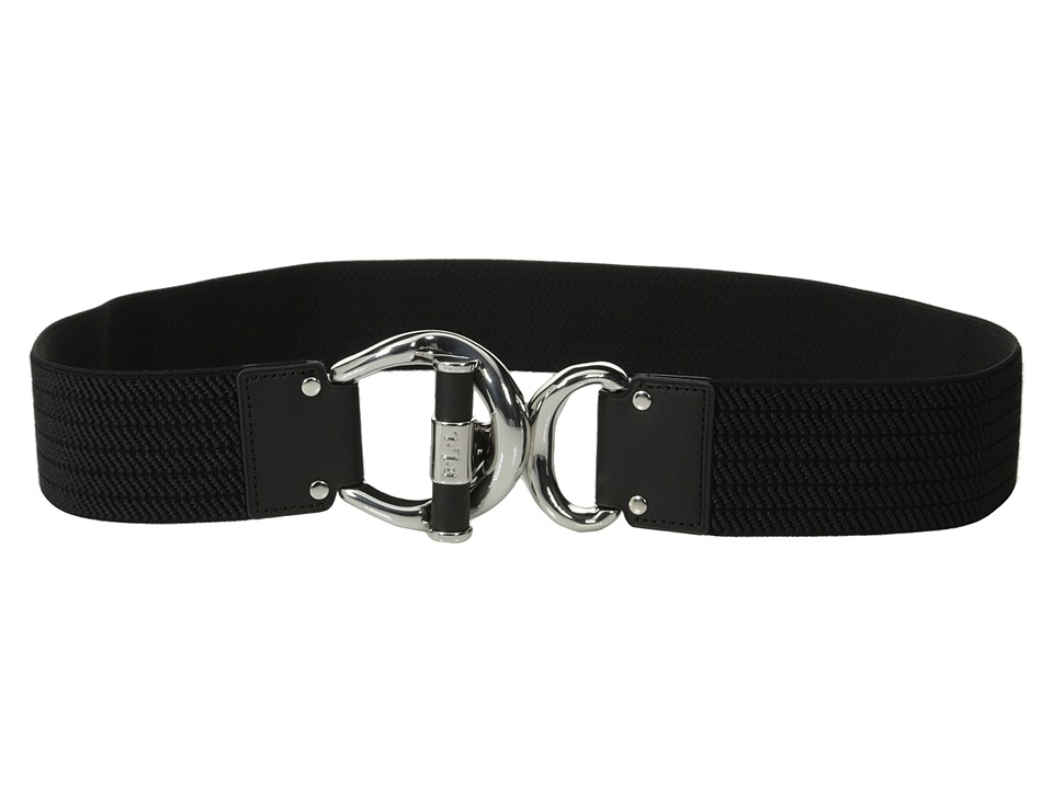 LAUREN Ralph Lauren - Woodbridge 1 3/4 Ribbed Stretch Belt w/ Leather Wrapped Toggle Interlock (Black/Black) Women's Belts