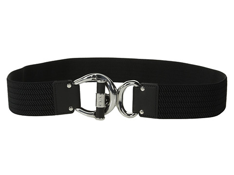 LAUREN by Ralph Lauren - Woodbridge 1 3/4 Ribbed Stretch Belt w/ Leather Wrapped Toggle Interlock (Black/Black) Women