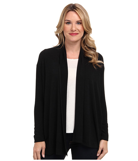 Nally & Millie - Long Sleeve Open Front Sweater Cardigan (Black) Women