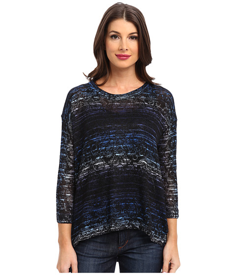 Nally & Millie - Ombre Boxy Sweater Top (Blue Multi) Women