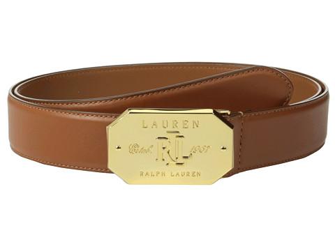 LAUREN by Ralph Lauren - Classics 1 3/8 Signatured Mitered Plaque (Tan) Women's Belts