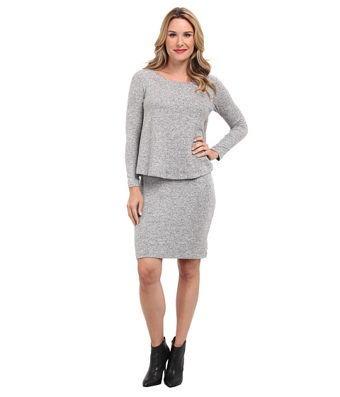 Nally & Millie - Layered Knee Length Sweater Dress (Heather Grey) Women