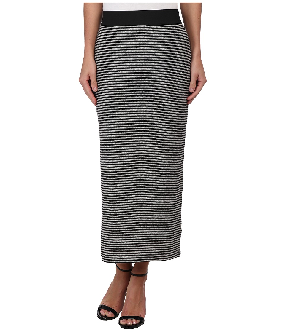 Nally & Millie - Pin Striped Brush Sweater Skirt (Black/Grey) Women