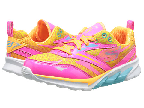 SKECHERS KIDS - GOrun 4 80653L (Little Kid/Big Kid) (Neon Pink/Multi) Girl's Shoes