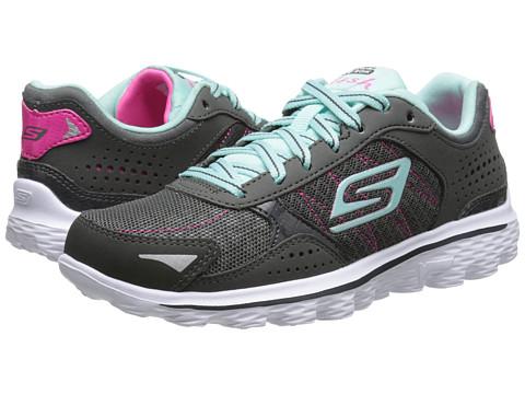SKECHERS KIDS - GOwalk 2-Flash 81054L (Little Kid/Big Kid) (Charcoal/Blue) Girls Shoes