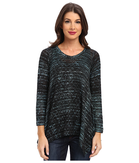 Nally & Millie - Teal Python Long Sleeve Sharkbite Tunic (Multi) Women