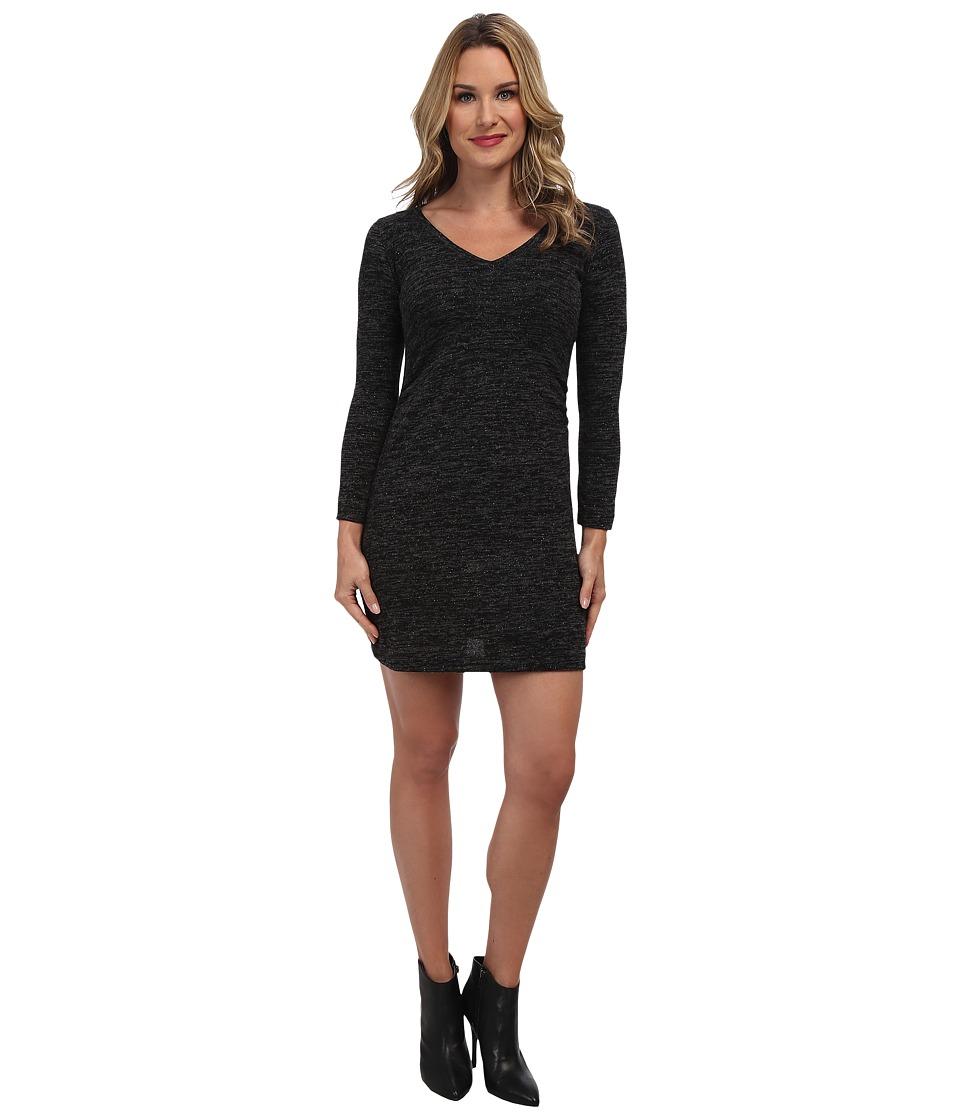 Nally & Millie - V-Neck Long Sleeve Ruched Dress (Black) Women's Dress
