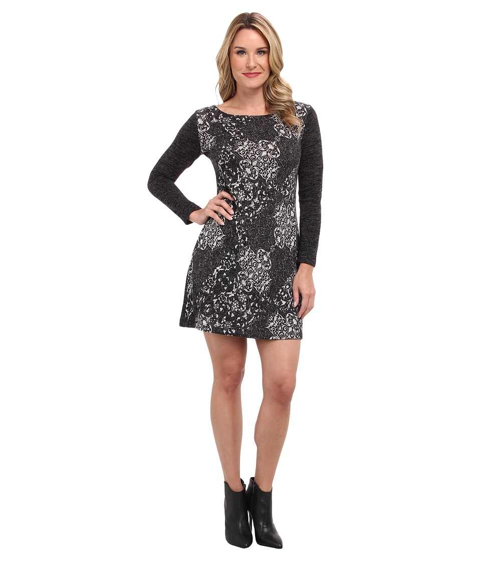Nally & Millie - Paisley Long Sleeve Dress (Grey Multi) Women's Dress