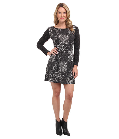 Nally & Millie - Paisley Long Sleeve Dress (Grey Multi) Women
