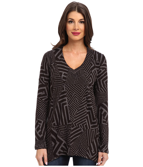 Nally & Millie - Geo V-Neck Tunic (Black Multi) Women