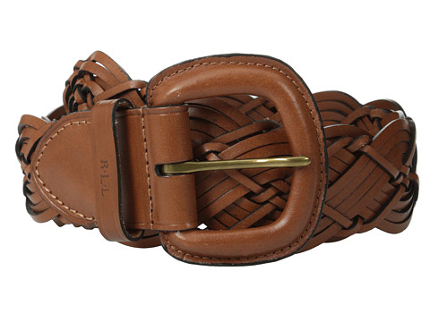 LAUREN by Ralph Lauren - 2 Woven Braid w/ Leather Covered Buckle (Tan) Women