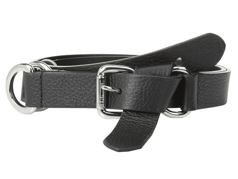 LAUREN by Ralph Lauren - Bayfield 1 Smooth Leather Knotted Tip Front Belt (Black) Women's Belts