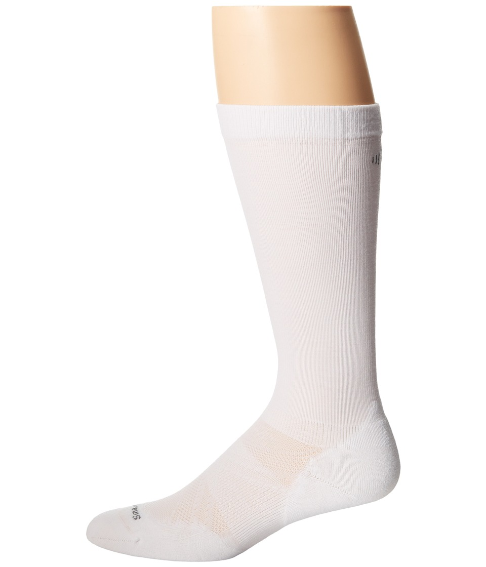 Smartwool - Run Graduated Compression Light Elite (White) Men's Crew Cut Socks Shoes