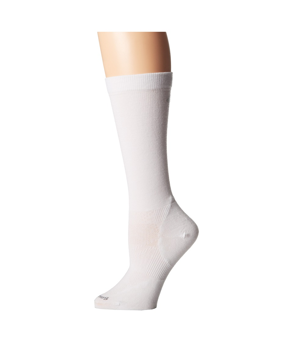 Smartwool - PhD Run Graduated Compression Ultra Light (White) Women's Crew Cut Socks Shoes