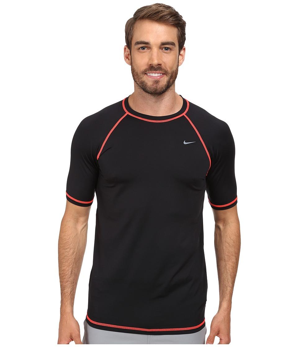 Nike - Hyrdo Stretch Core Solid S/S Top (Black) Men's Swimwear