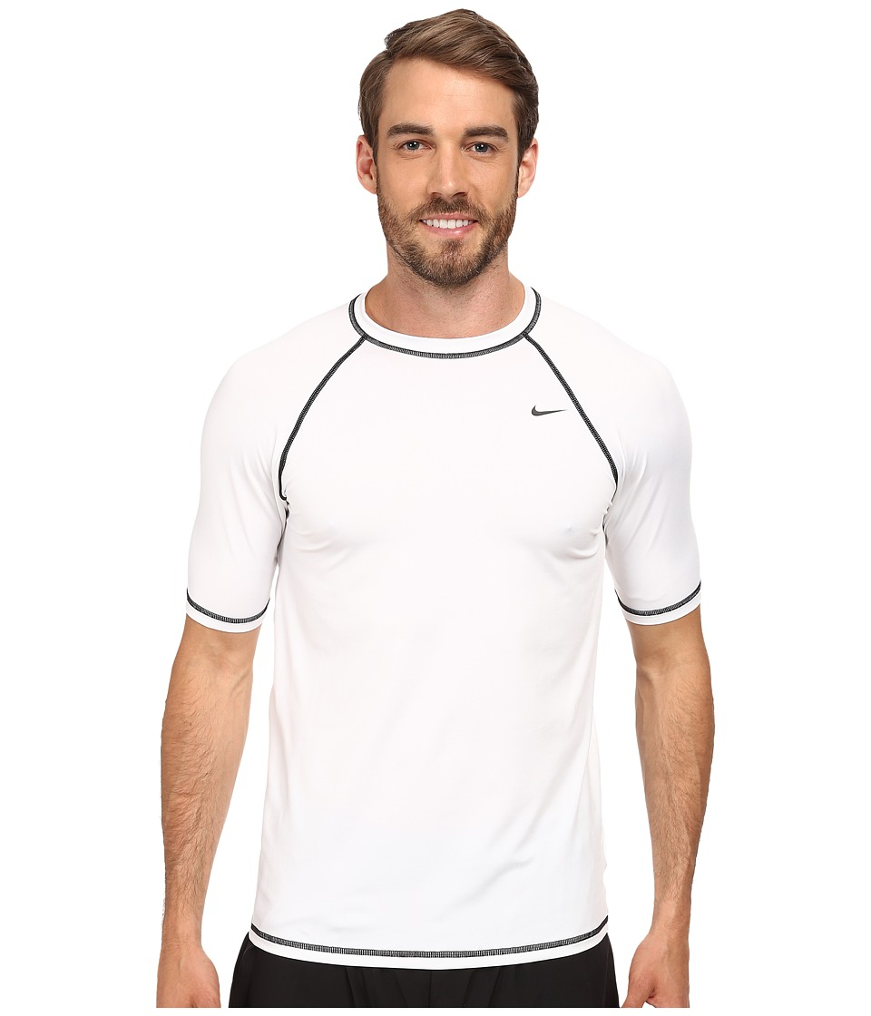 Nike - Hyrdo Stretch Core Solid S/S Top (White) Men's Swimwear