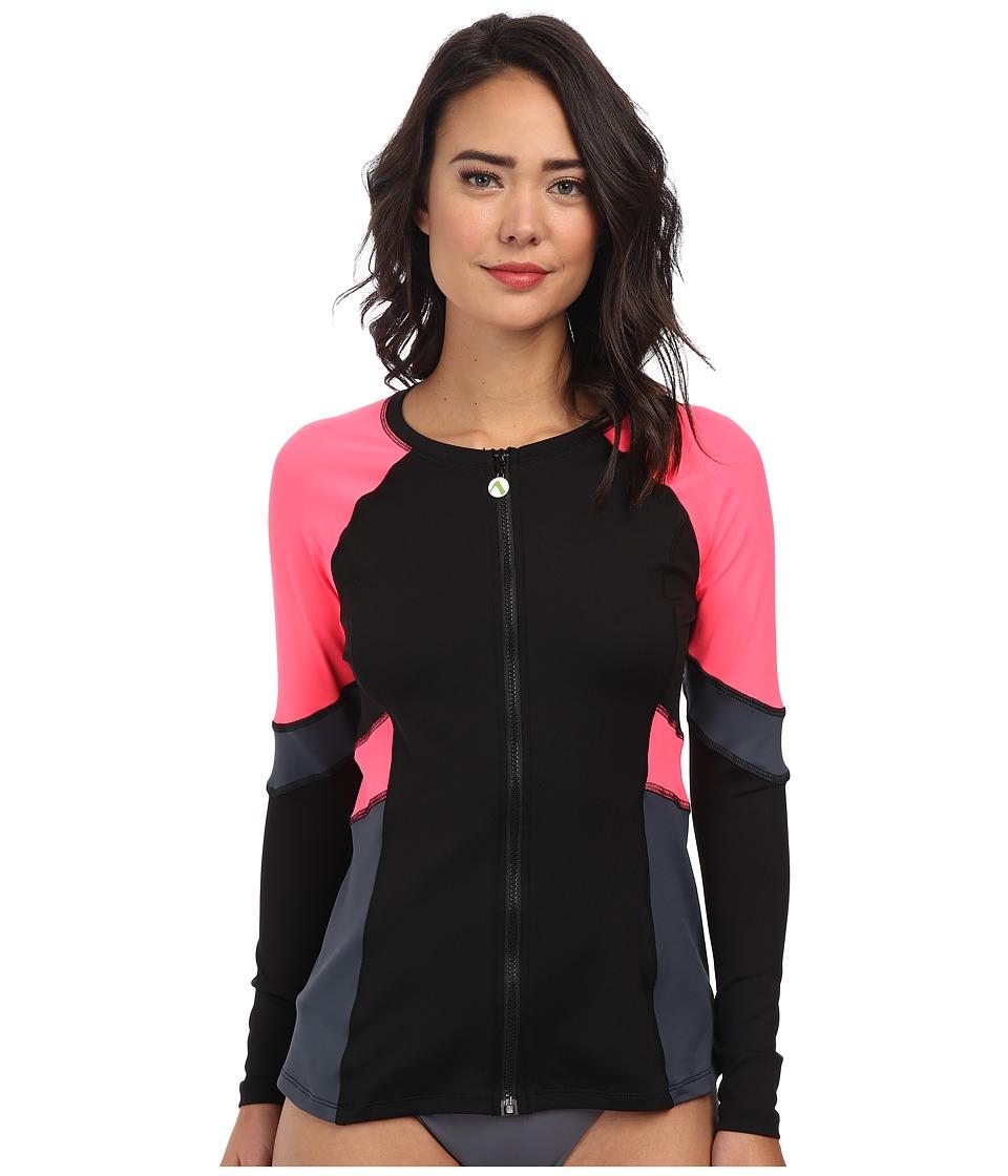 Next by Athena - Good Karma Malibu Long Sleeve Surf Shirt (Black) Women's Swimwear