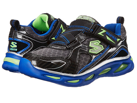 SKECHERS KIDS - Ipox Lights 90385L (Little Kid) (Black/Charcoal/Blue) Boy's Shoes