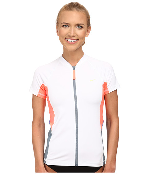 Nike - Color Block S/S Hydro Top (White) Women's Swimwear