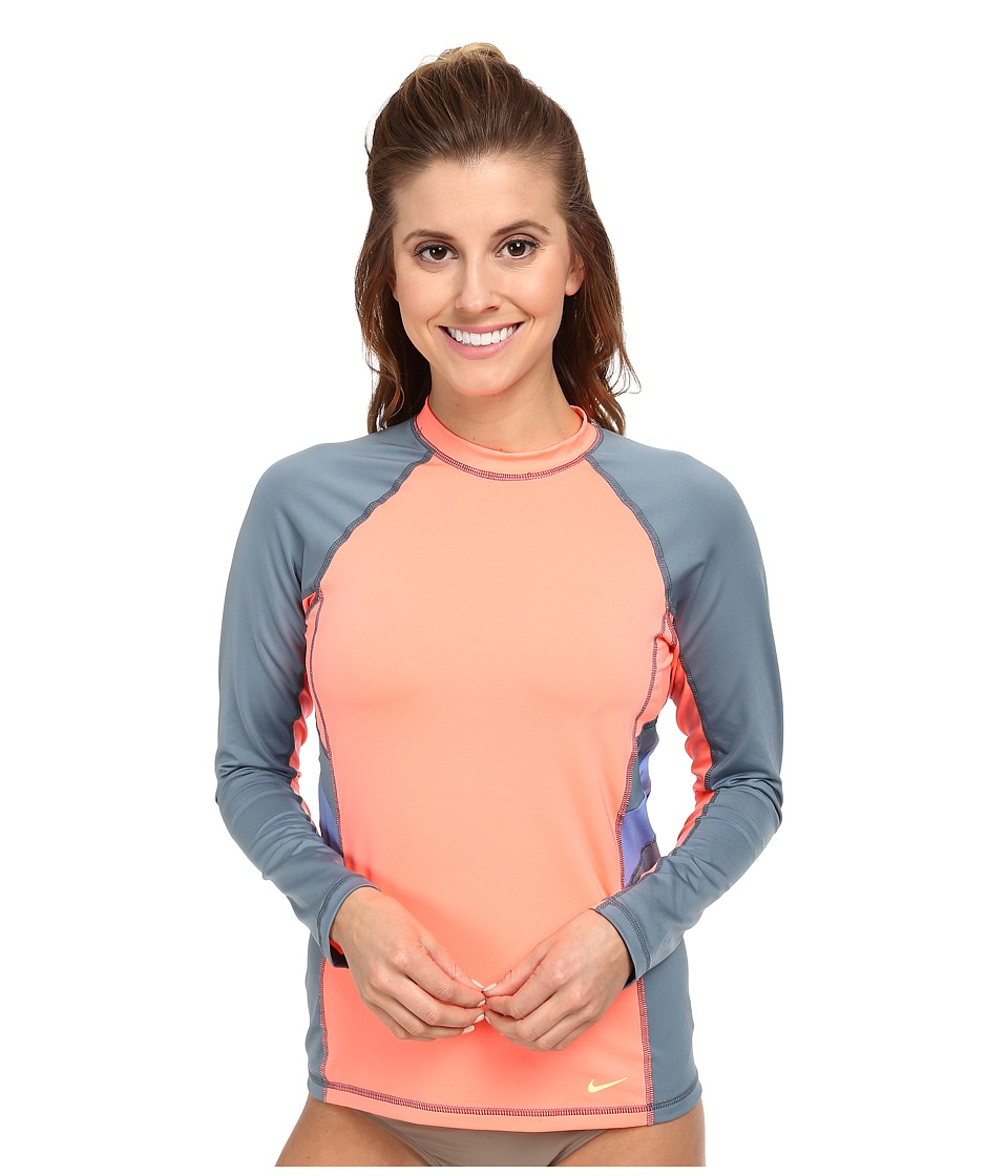 Nike - Color Block L/S Hydro Top (Lava Glow) Women's Swimwear