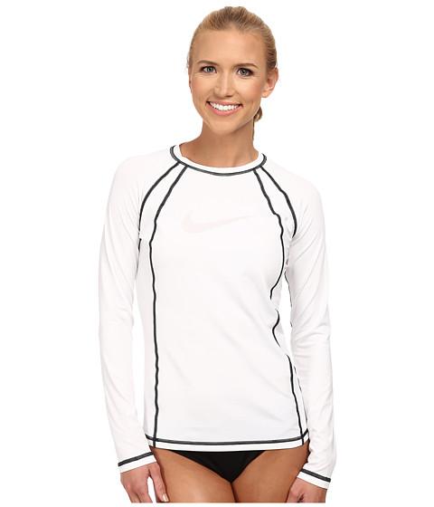 Nike - Solid L/S Hydro Top (White) Women's Swimwear