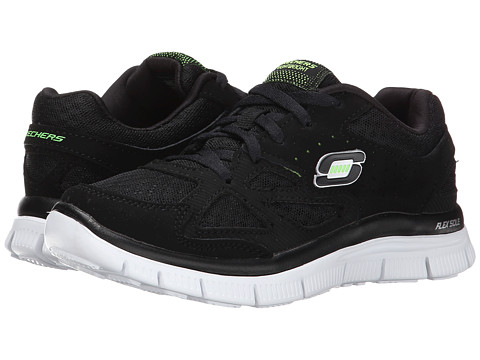 SKECHERS KIDS - Flex Advantage - Master Plan 95522L (Little Kid/Big Kid) (Black/White) Boy's Shoes