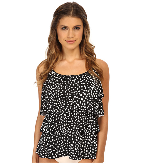 Miraclesuit - Soft Spots Tiering Up Tankini Top (DD Cup) (Black/White) Women