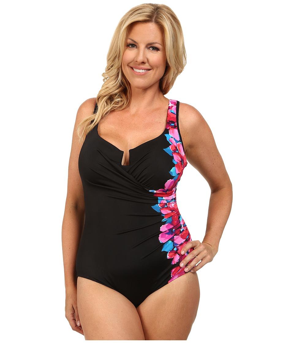 Miraclesuit - Plus Size Garland Escape Swimsuit (Black) Women's Swimsuits One Piece