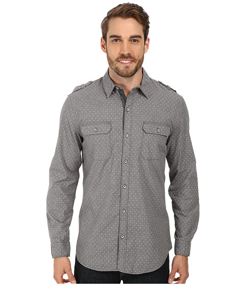 DKNY Jeans - L/S Roll Tab Dot Print Shirt w/ Garment Wash (Heather Grey) Men's Long Sleeve Button Up